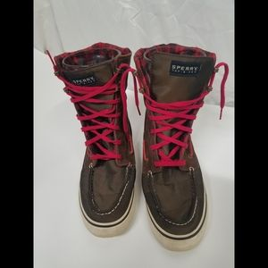 Sperry Plaid High top boots